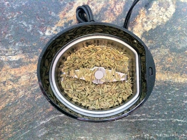 Fennel Seed in Coffee Grinder