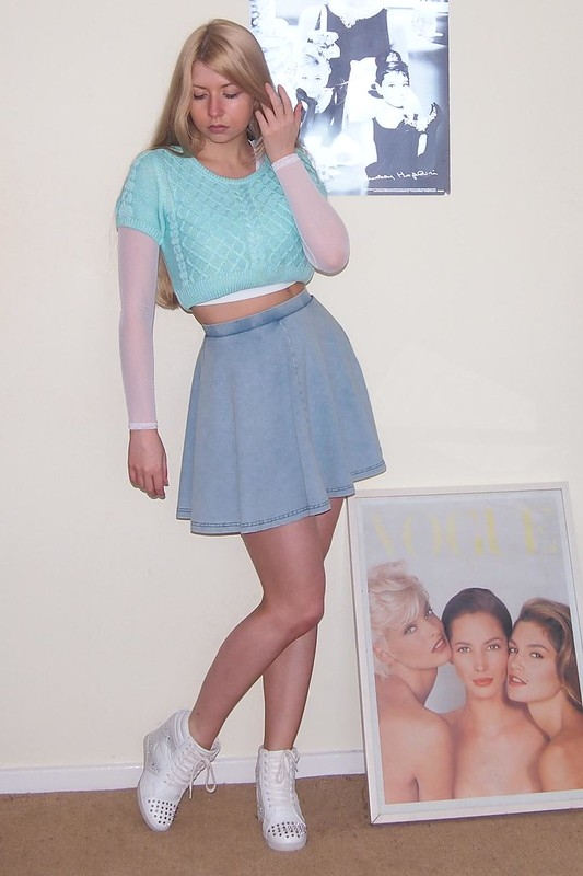 Topshop, Denim Mini Skirt, Circle Skirt, American Apparel Dupe, New Look, Tokyo Doll, Mint, Pastel, Crop Top, Cropped Jumper, Knit, Wedge High-Tops, Hi-Tops