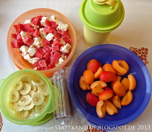 Stattkantine 4. Juli 2013 - Feta-Tomate-Wassermelone-Salat, Aprikosen, Buttermilch