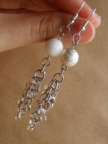 Earrings - Sugar. With white agate.
