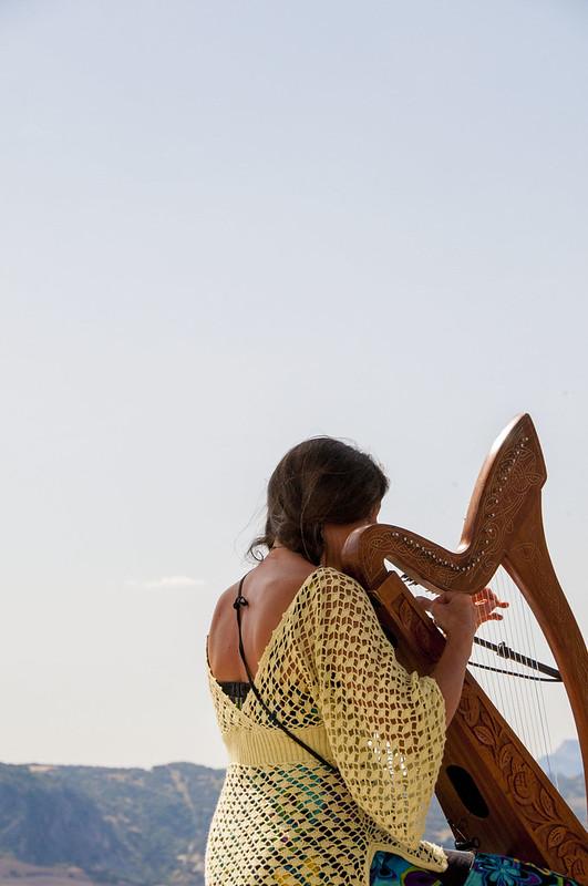 Ronda Spain - woman playing harp
