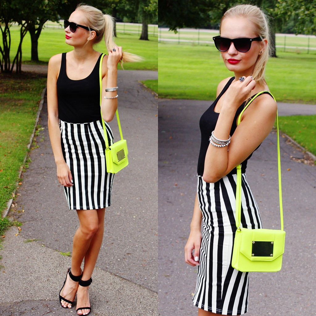 Call me Maddie, two years of blogging, outift of the day, fashion blog, choies midi skirt, choies.com, simple outfit, back to basics, zara sandals, rayban sunglasses, neon yellow bag, red lips, blonde girl