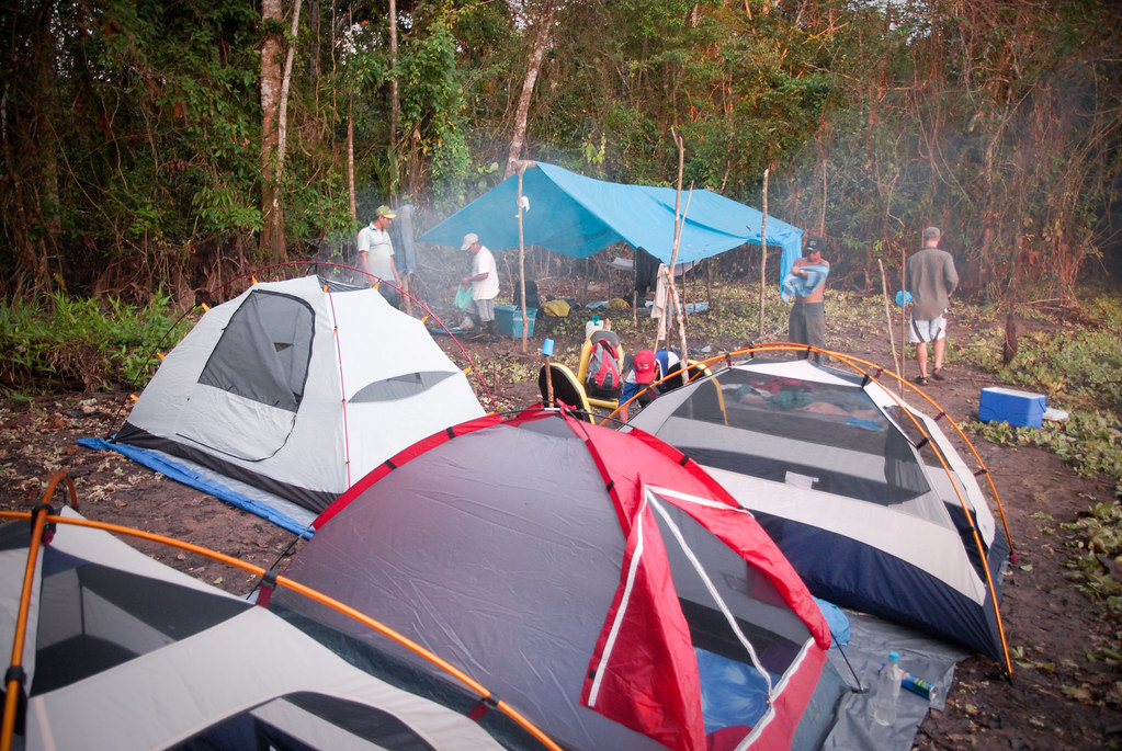 Tents in the jungle rainforest during a one of our Amazon tours, far from Iquitos, Amazon river, Peru