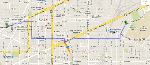 the Google Maps route to Union Market
