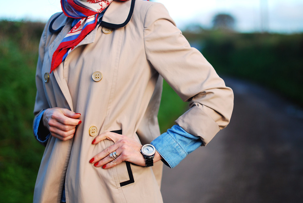 Trench coat, denim shirt & vintage scarf