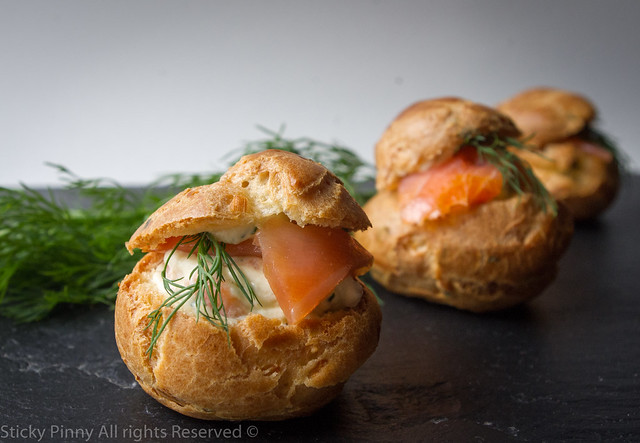 Sticky Pinny Smoked Salmon Choux Buns 1