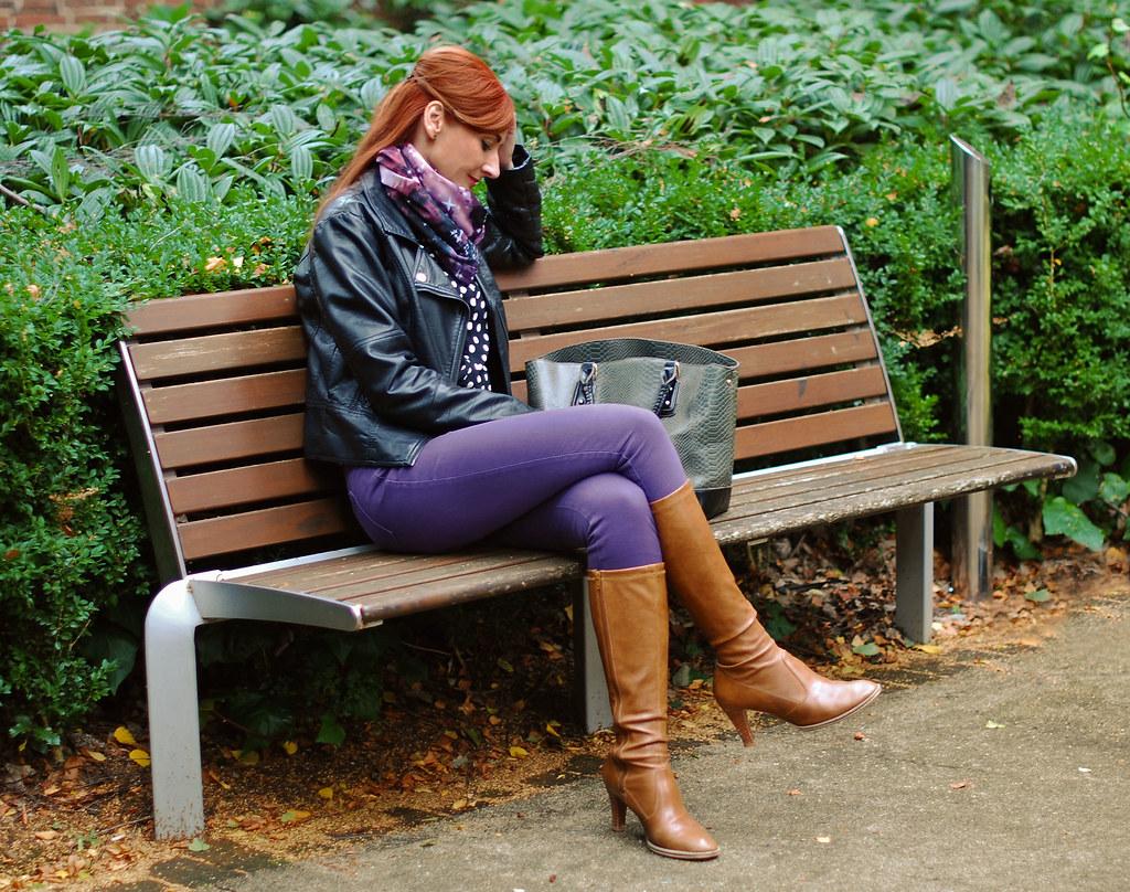 Biker jacket, purple skinnies & tan boots