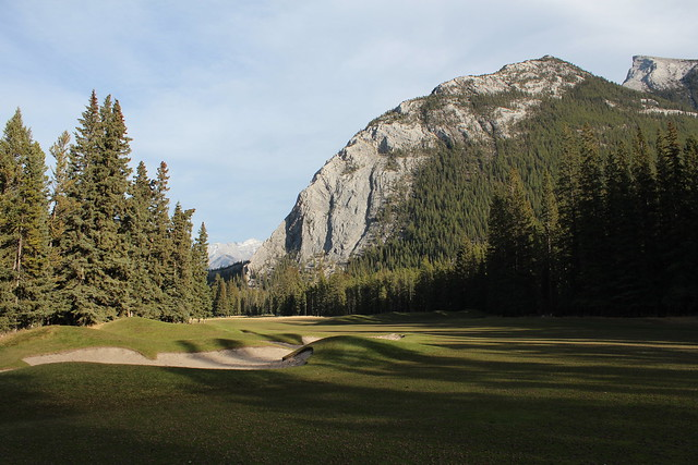 Rundle mountain from Banff Golf course Alberta Canada