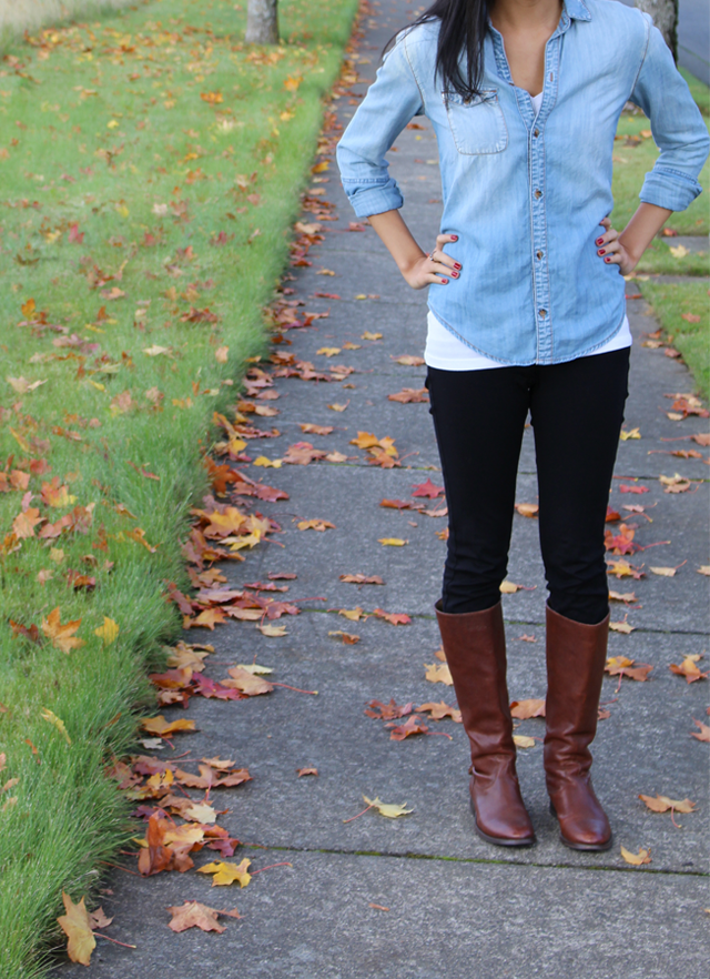 chambray shirt, urban outfitters, cute outfit, fall outfit ideas, red nails, black jeggings, riding boots, brown leather boots