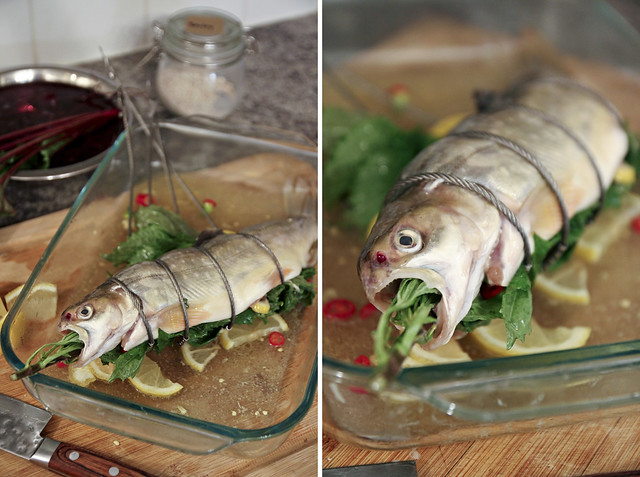 shiso-stuffed trout