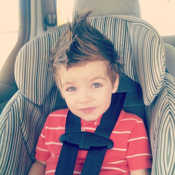 Someone got in daddys hair gel. There was no turning back, so mohawk for church it is.