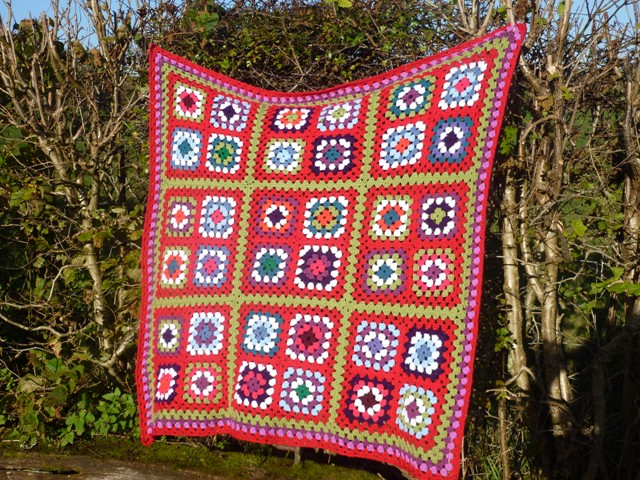 Granny squares blanket completed