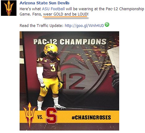 ASU fans wear gold