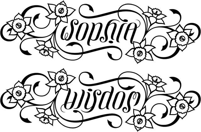 sophia wisdom ambigram daffodils flickr photo sharing. Black Bedroom Furniture Sets. Home Design Ideas