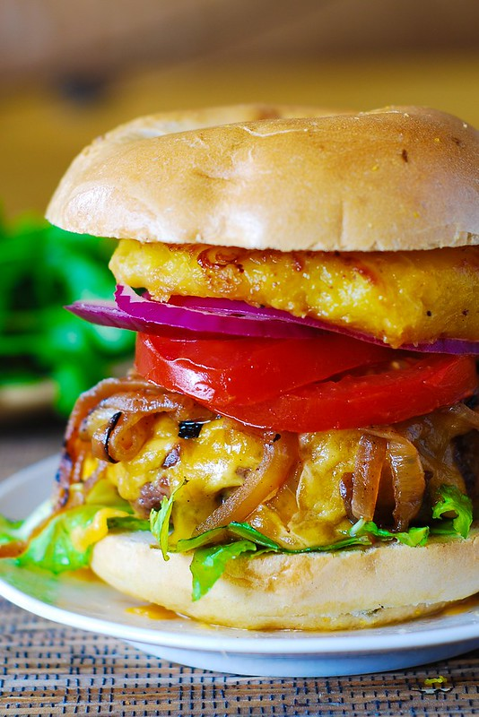 Hamburger with caramelized onions and grilled pineapple, grilled burger, grilled hamburger, dressed up hamburger, beef recipes, dinner recipes