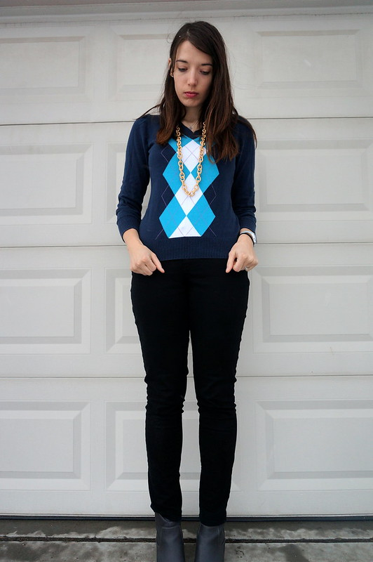 navy argyle with black jeans