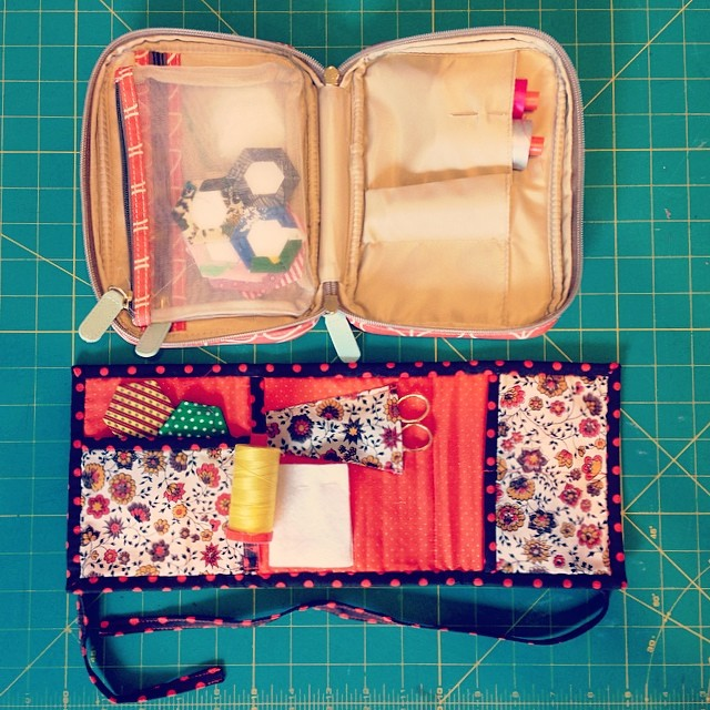 hand-sewing/English paper piecing cases (handmade & orla kiely etc. case) - hat tip to @redheadwiththread who uses an orla case to tote her epp stuff around town!