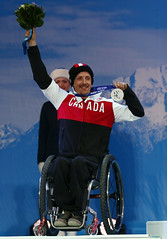 Josh Dueck celebrates his silver medal in downhill at the 2014 Paralympic Winter Games in Sochi, RUS