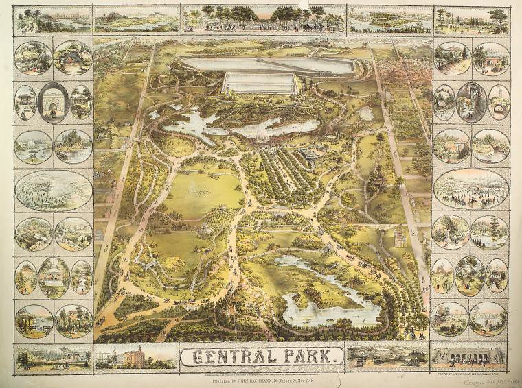 Central Park 1863 Source New York Map Historic