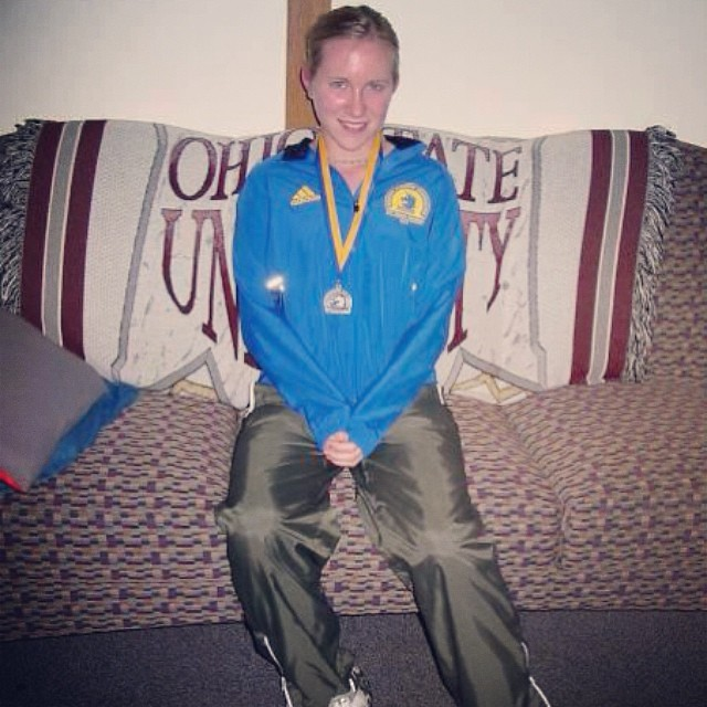 Throwback Thursday: on my dorm couch after getting back from running the '03 Boston Marathon. #tbt