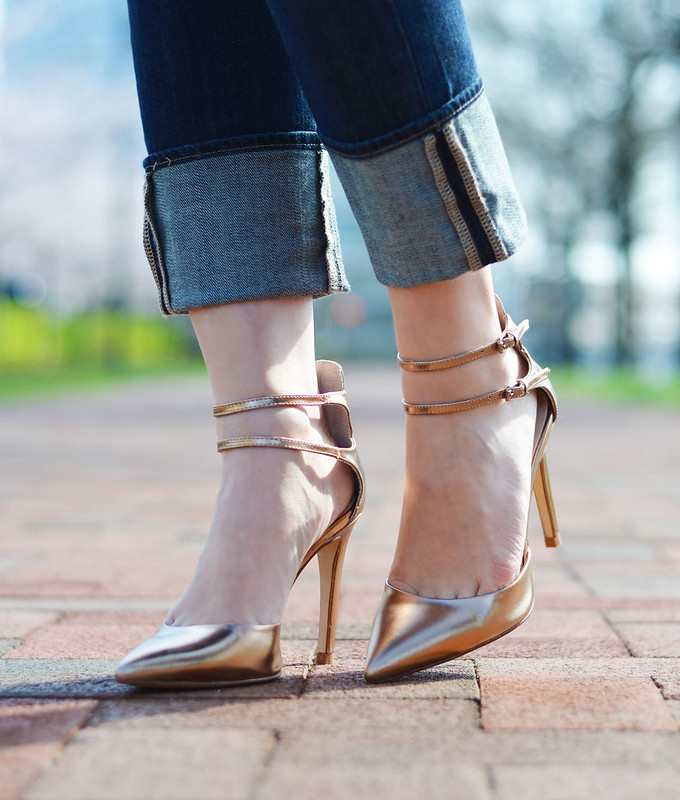 Zara bronze metallic ankle strap heels shoes