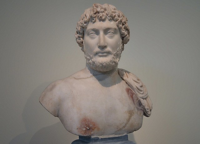 Marble portrait bust of the emperor Hadrian, found in the temple of the Olympieion, Athens ca. AD 130, National Archaeological Museum of Athens