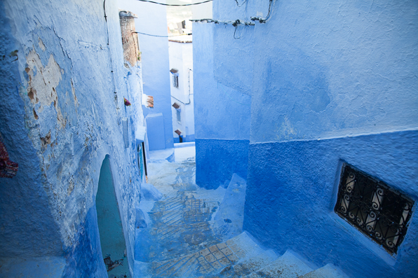 Blue stairways and streets in Chefchaouen Medina, Morocco