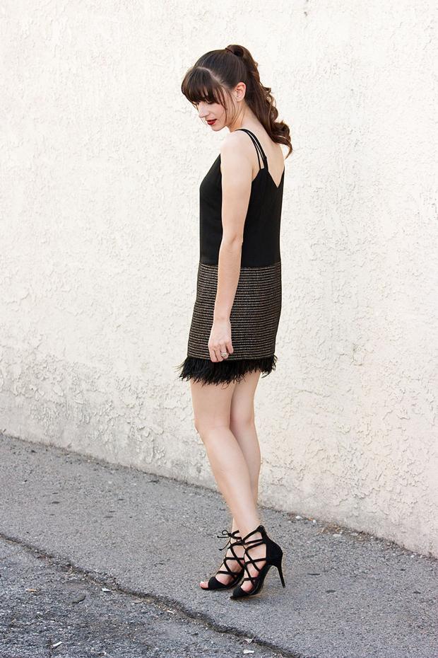 Tweed Feather Dress, Greylin Dress, Lace Up Heels