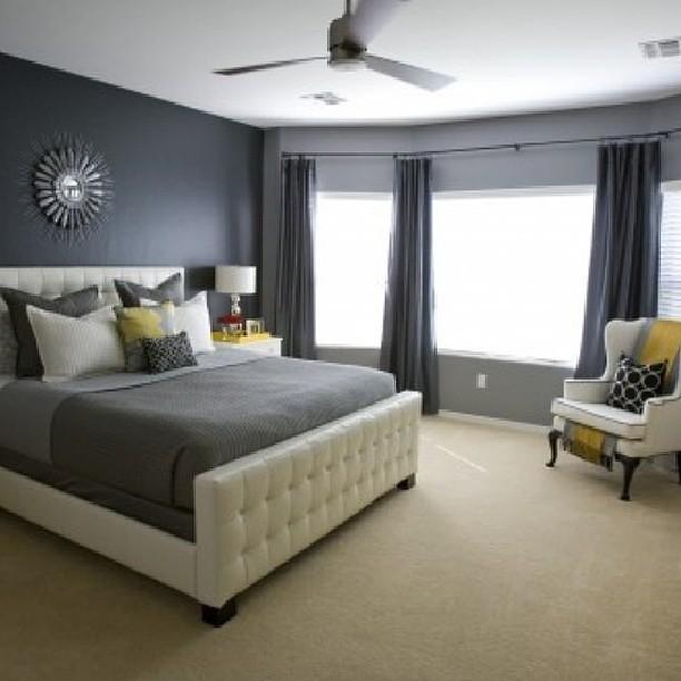 Atlanta Living! #grey #yellow #carpet #bed #bedding