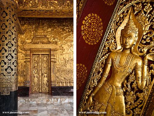 Grabados en las paredes del templo de Wat Mai en Luang Prabang