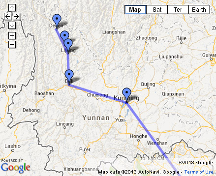 Open Backpacking Itinerary Yunnan in Google Maps