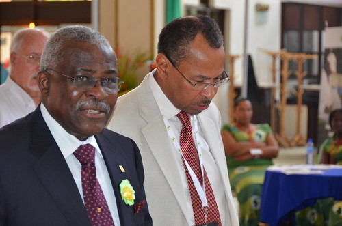 ILRI's Jimmy Smith with IFAD's Kanayo Nwanze, at AASW6