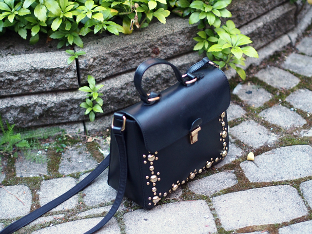 asos black gold bag