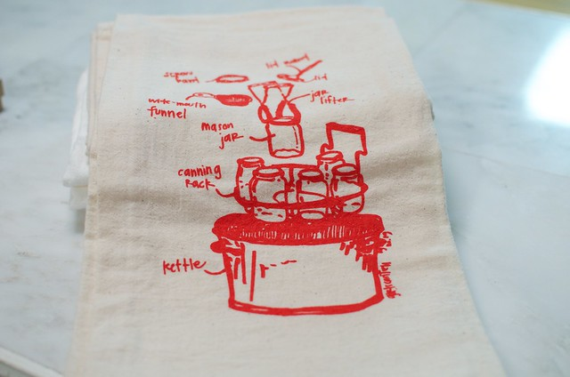 canning diagram tea towel