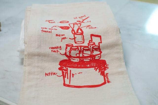 canning diagram tea towel