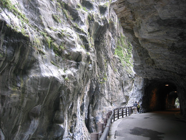Tunnels along the cliffs of Taroko Gorge in 花蓮縣