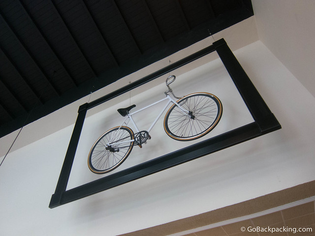 And yes, there's a framed bicycle hanging in the restaurant