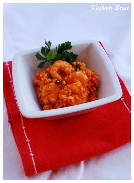 Risotto z krewetkami i pikantnym sosem pomidorowo-paprykowym