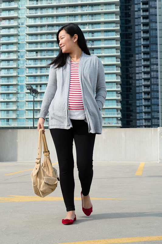 Rwco elbow patch cardigan, Ardene bow flats, gap purse, JCrew stripe shirt