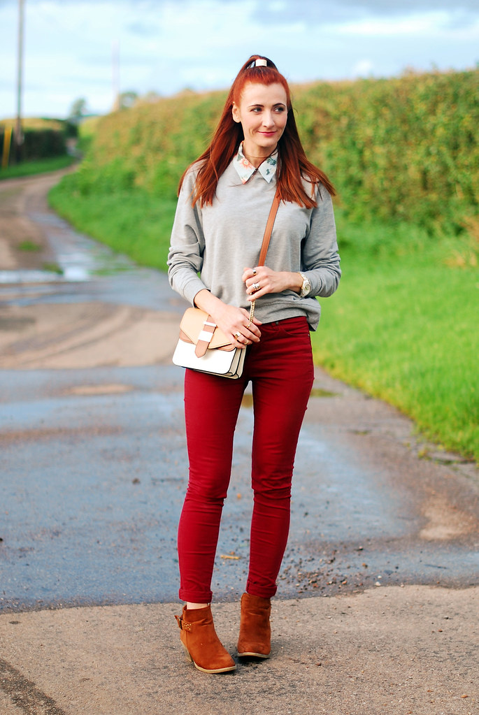 Grey sweatshirt, red skinnies & brown booties