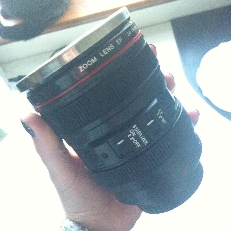 chambray and curls camera lens mug