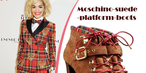 Rita Ora in a Moschino Fall 2013 Plaid Suit