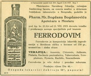 Ferrodovim iz Farmaceutski vjesnik God. XIX. Zagreb 12.III.1929.   Broj. 5   2067 PR