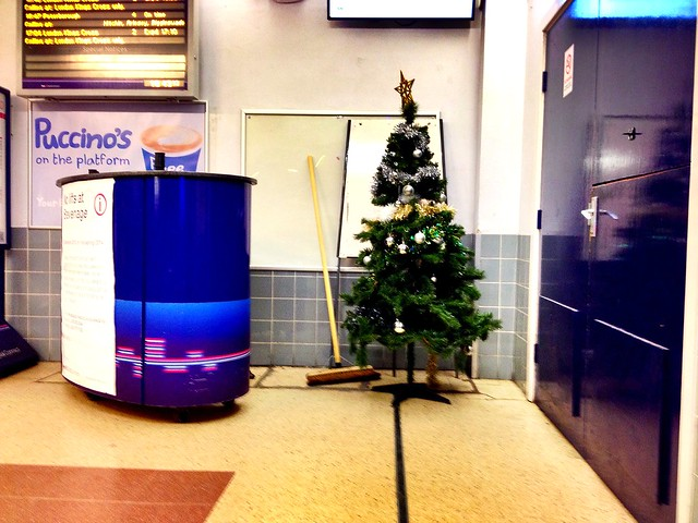Extravagantly festive at Stevenage station.