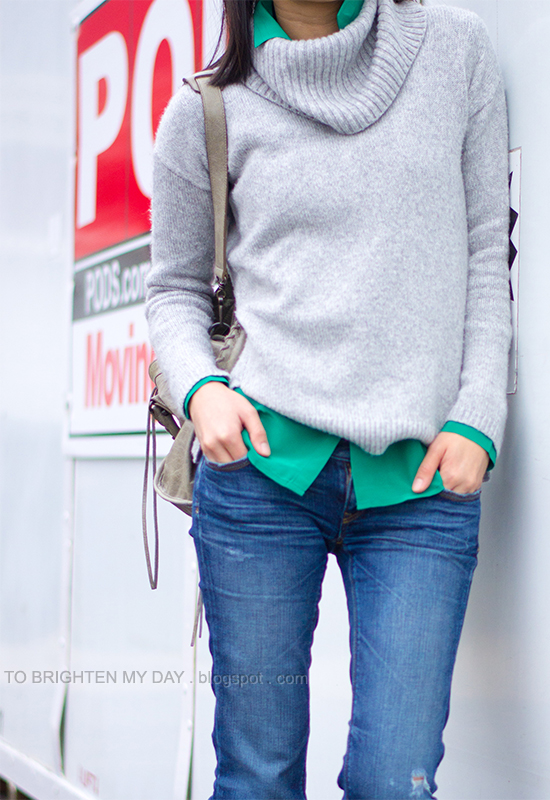 gray cowlneck sweater, green blouse, jeans