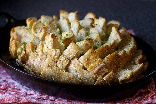 garlicky party bread with herbs and cheese