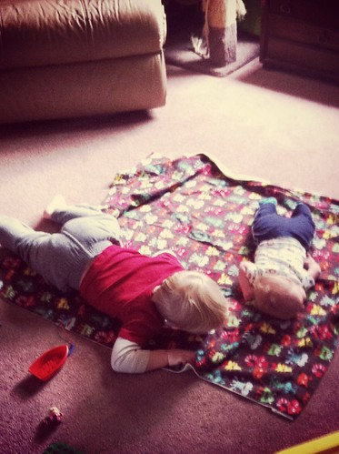 Elmer's teaching Arthur about tummy time. 1Feb14