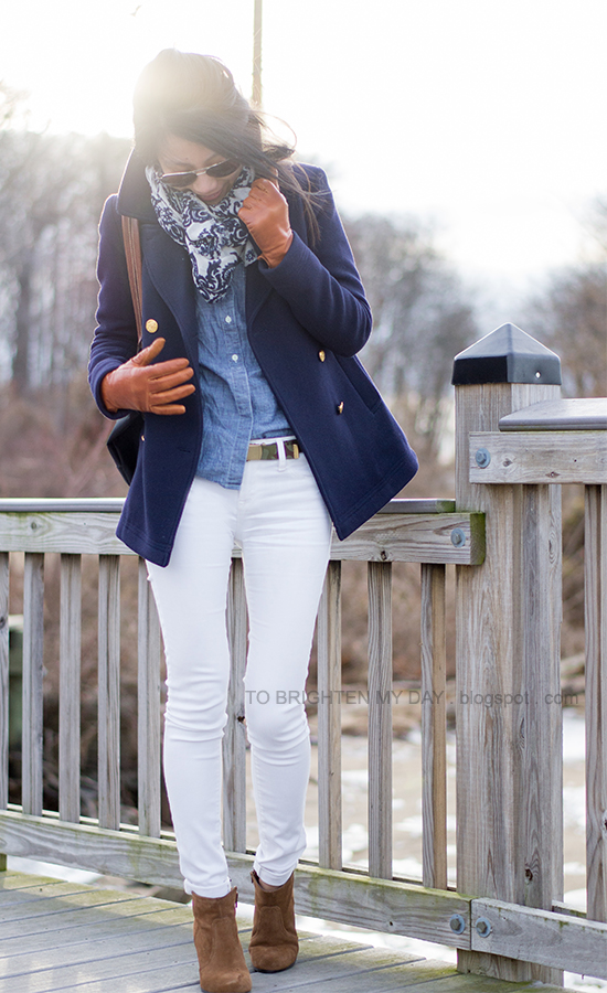 navy peacoat, floral scarf, chambray shirt, camo belt, brown suede ankle boots