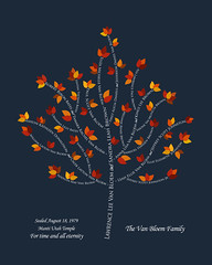 Family tree with names art navy white present day autumn leaves