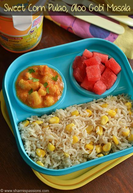 Sweet Corn Pulao & Aloo Gobi Masala